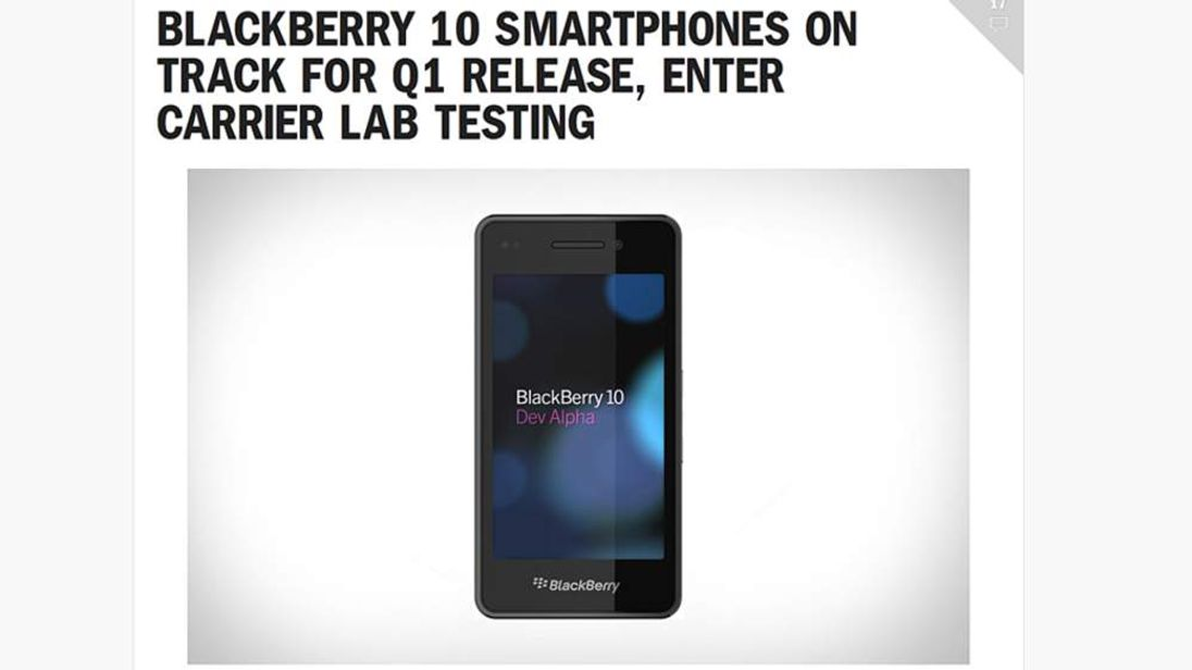 BlackBerry 10 smartphone, as shown on the company website