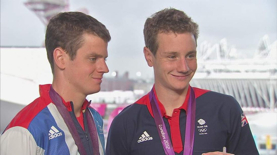 British triathletes Jonny (L) and Alistair Brownlee