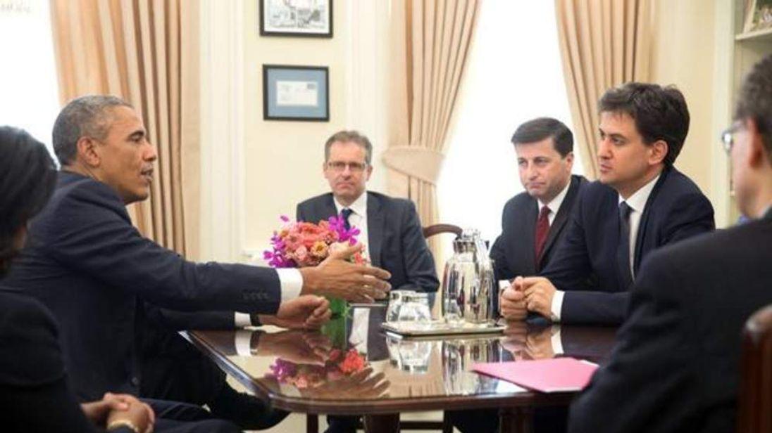 Labour leader Ed Miliband talks with US President Barack Obama.
