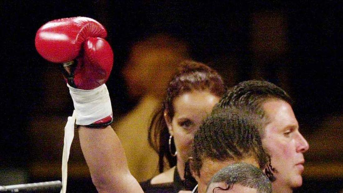 "boxing champ Hector ""Macho"" Camacho celebrates after defeating Roberto Duran"