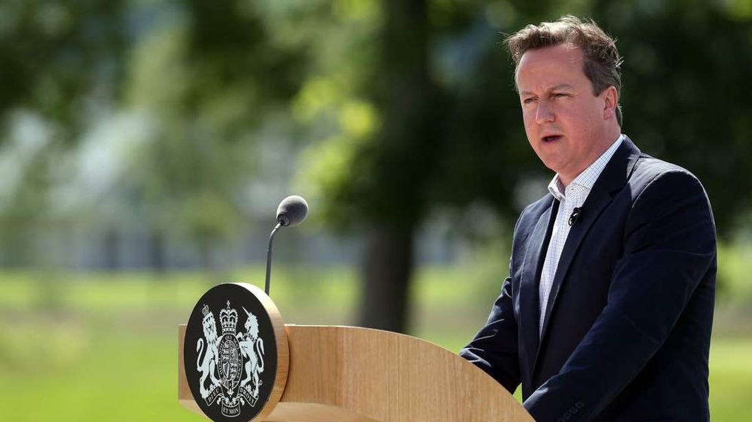 Prime Minister David Cameron holds a press conference