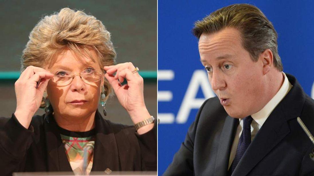 Viviane Reding and David Cameron