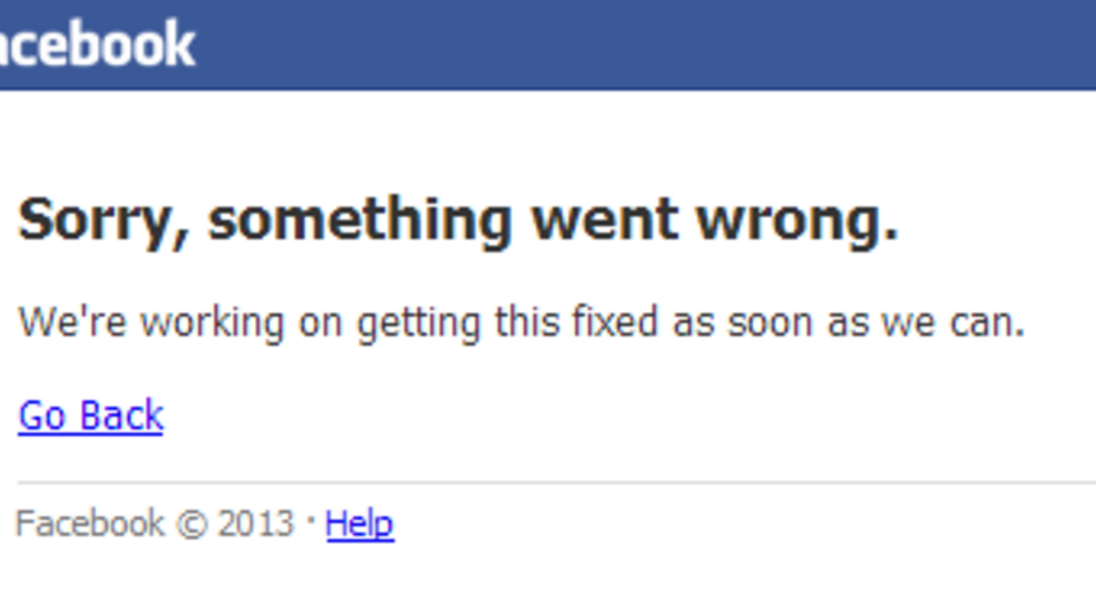 Facebook broken message