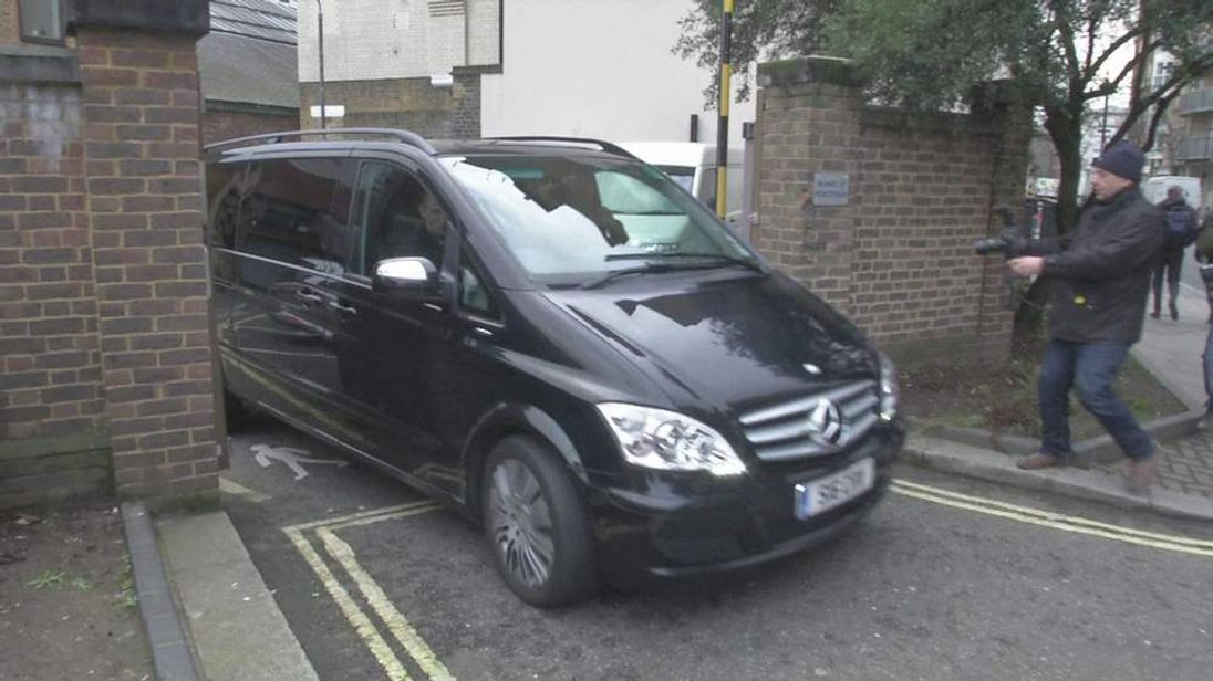 Car leaving coroner's court