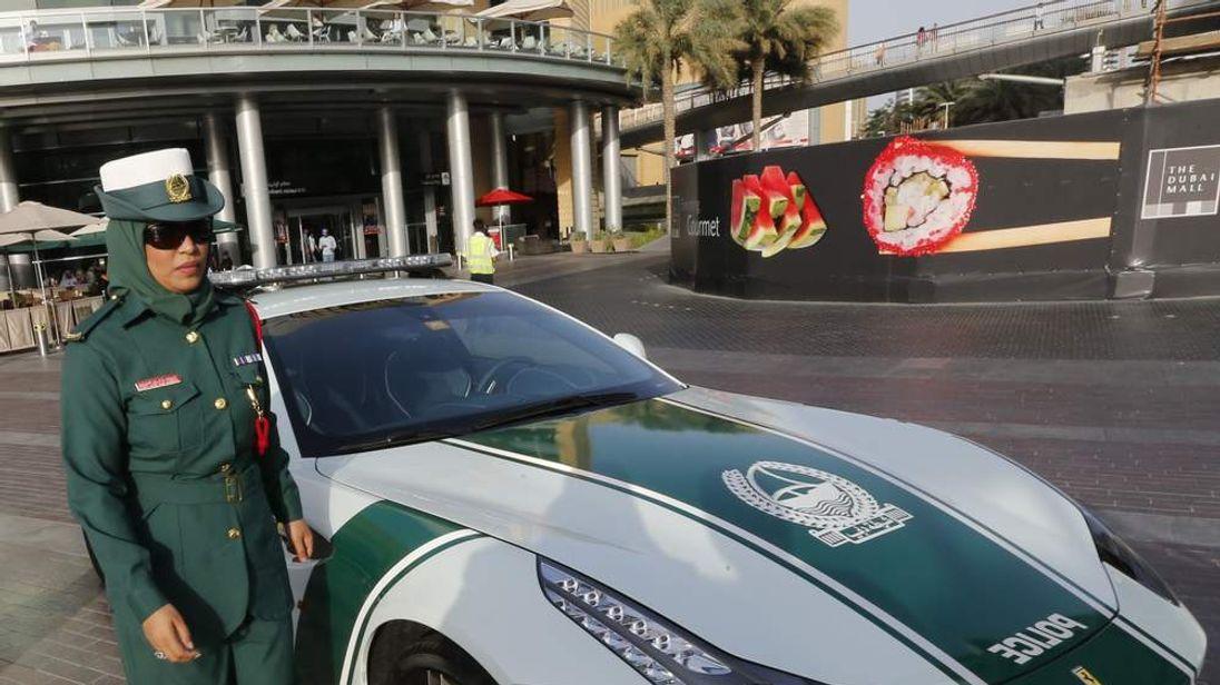 Dubai police with Ferrari