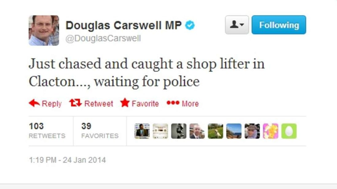 The tweet sent by Douglas Carswell.