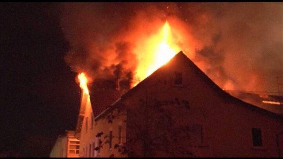 Fire at apartment building in Backnang near Stuttgart, Germany