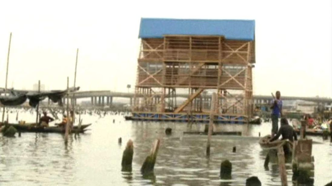 A three-storey floating school will soon be used in the community of Makoko, a slum built on Nigeria's flooded coastline.