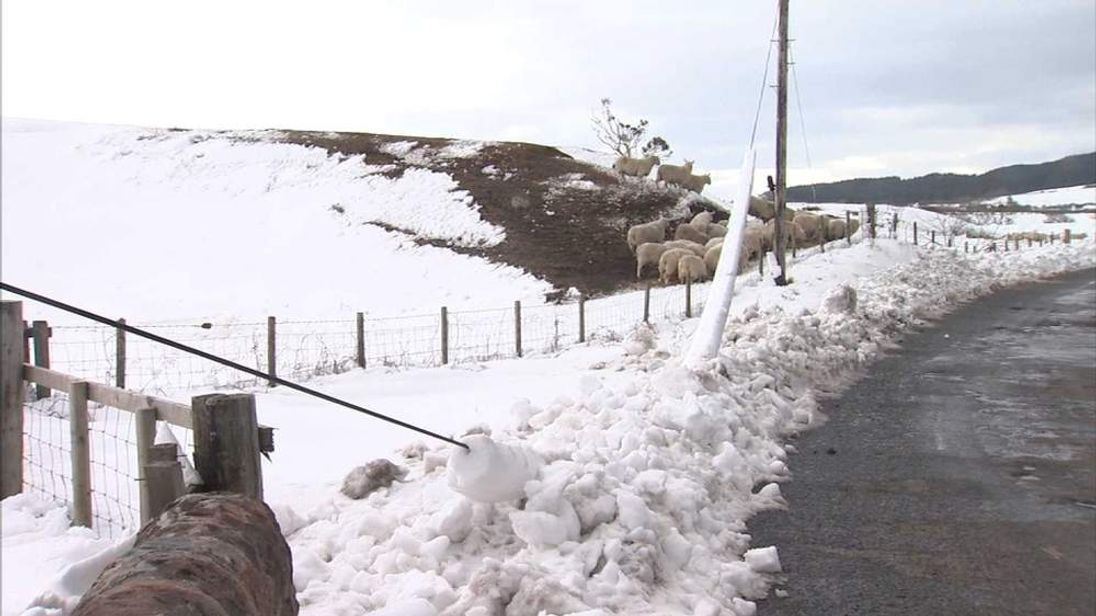 Power lines down in Arran off the west coast of Scotland