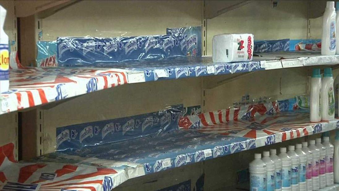 Empty shelves after toliet roll supplies run out in Venezuela