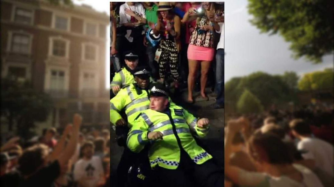 The police officers enjoy a dance
