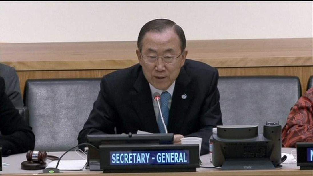 UN Secretary-General Ban Ki-Moon talking about Syria weapons
