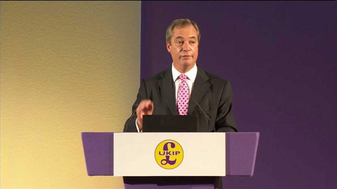 UKIP leader Nigel Farage speaking at the UKIP conference