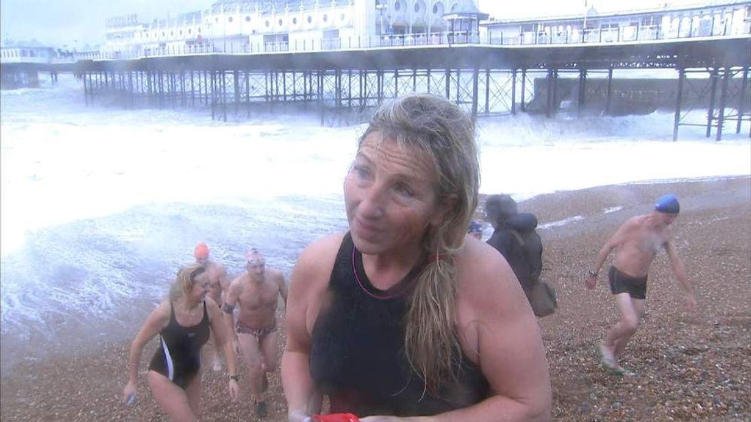 Swimmers at Brighton beach