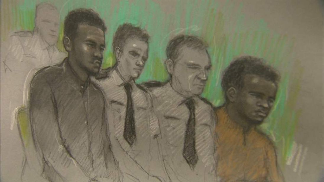 Court artist's sketch of defendants Michael Adebolajo (left) and Michael Adebowale (right)