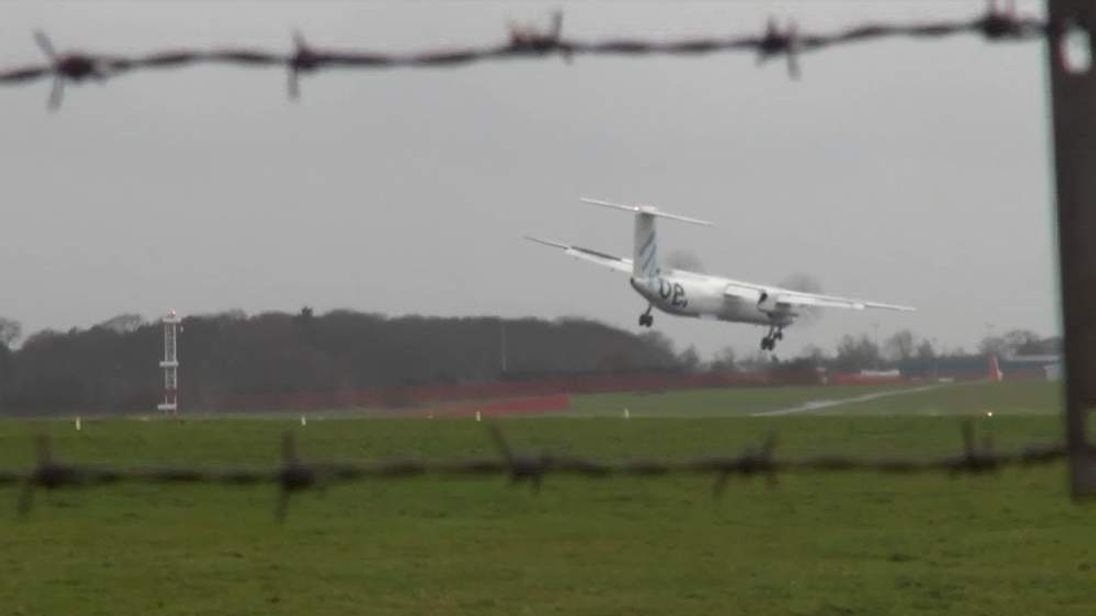 A Flybe plane aborted a landing attempt during strong winds in Newcastle
