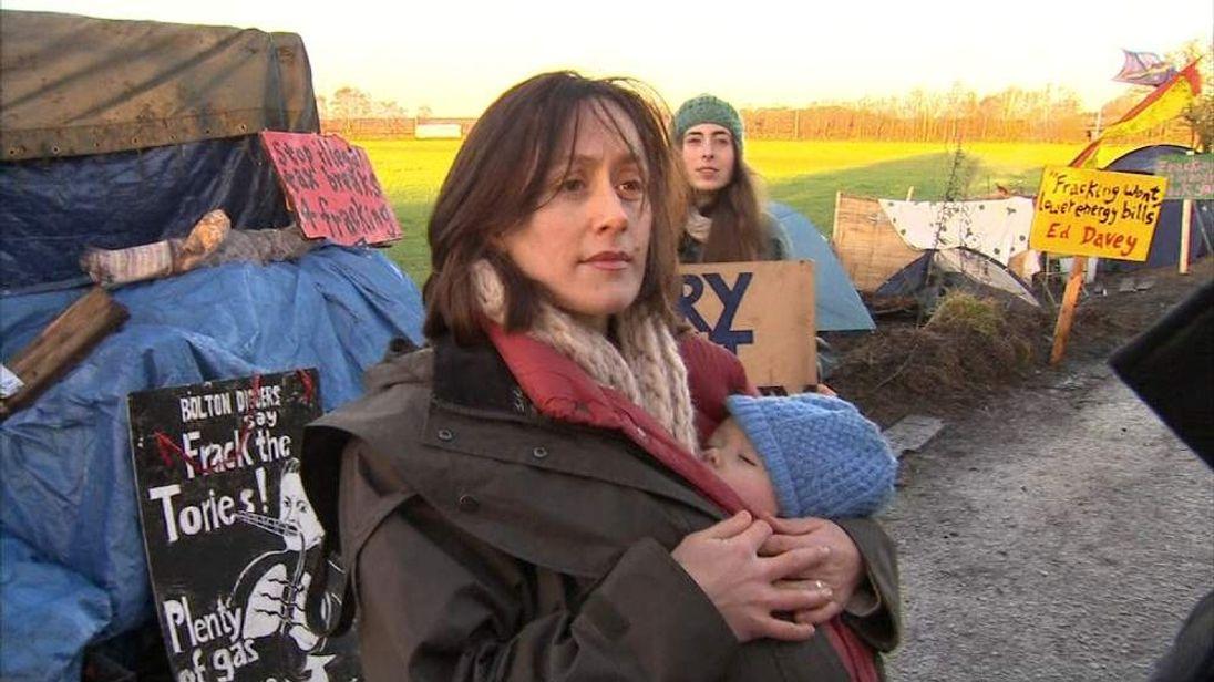 Anti-fracking protester in Salford