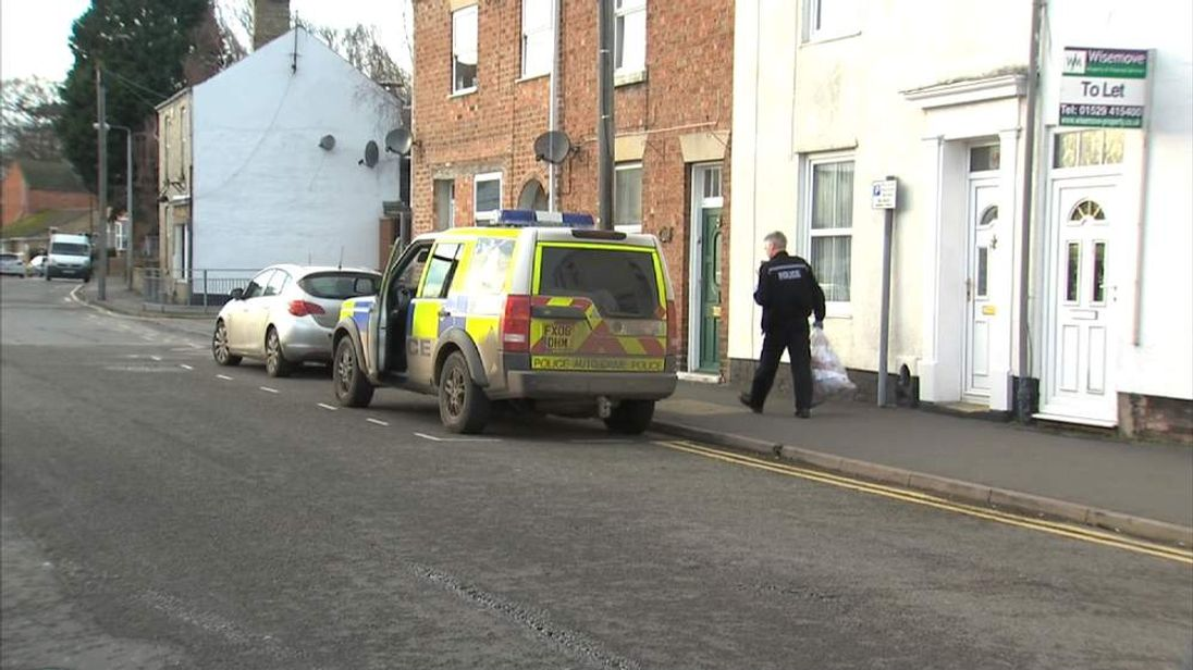 Police in Sleaford, Lincolnshire at scene of an alleged assisted suicide