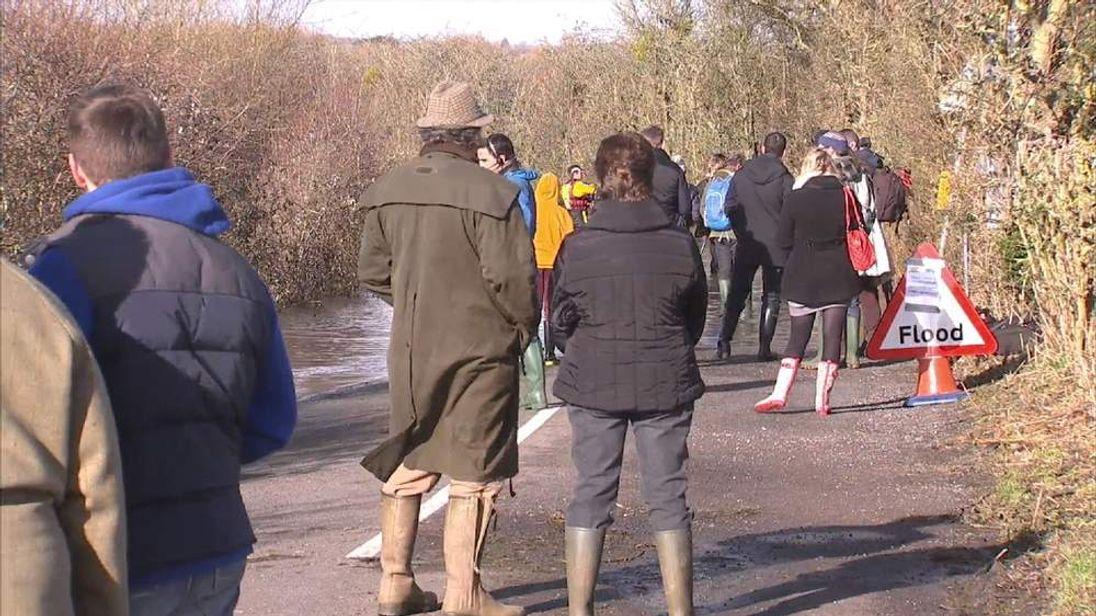 Residents of Muchelney wait to meet Prince Charles