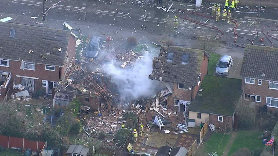 The aftermath of a gas explosion in Clacton