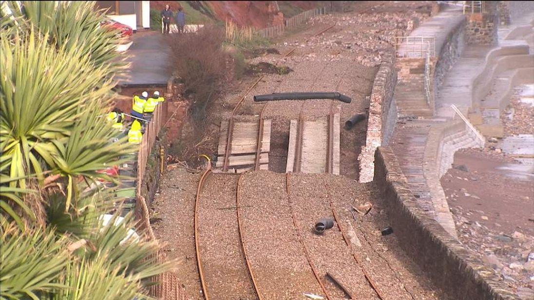 Damaged railway tracks in Dawlish, Devon
