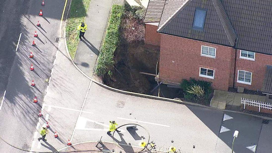 A sinkhole opens up in Hemel Hempstead.