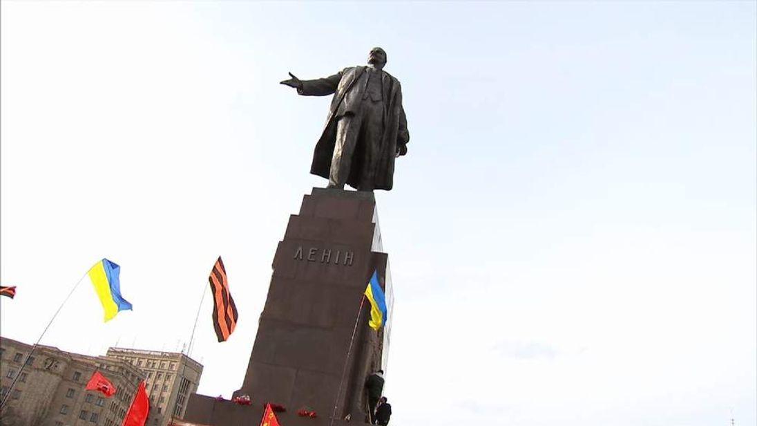 A statue of Lenin in the Ukrainian city of Kharkiv