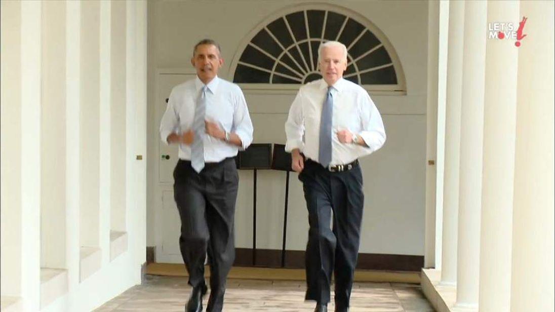 Obama and Biden run around White House