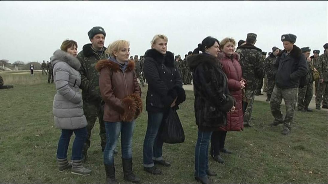 Women outside Belbek air base Crimea