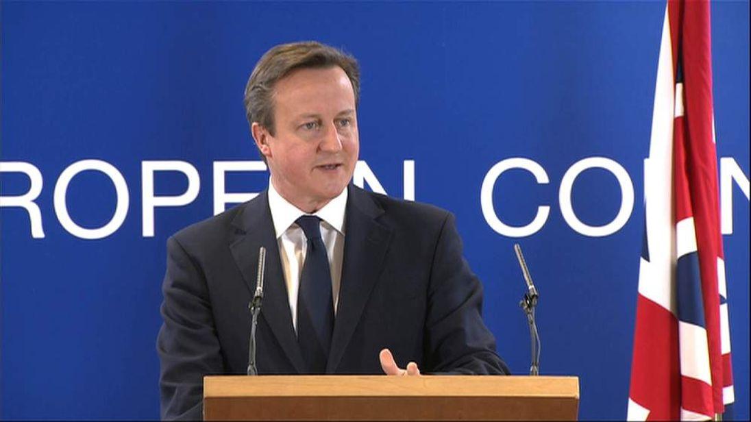 David Cameron speaks in Brussels