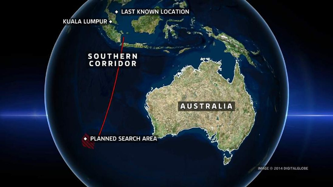 The objects were spotted around 1,550 miles (2,500km) southwest of Perth