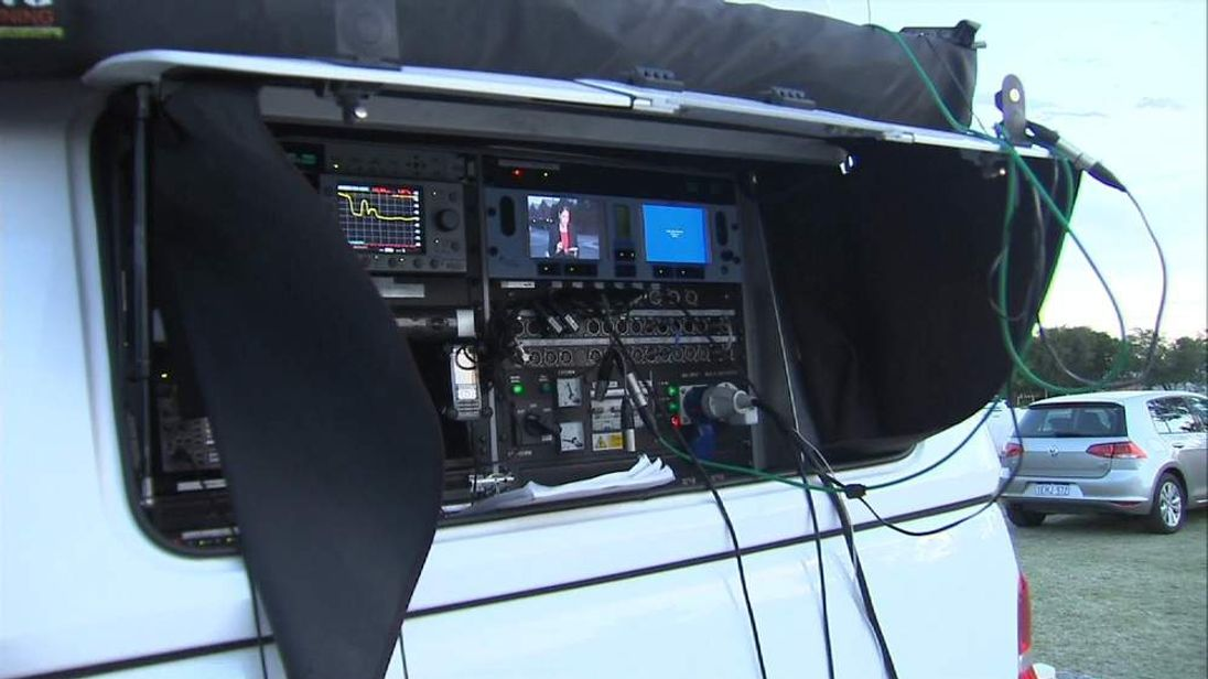 A satellite truck broadcasts from Perth