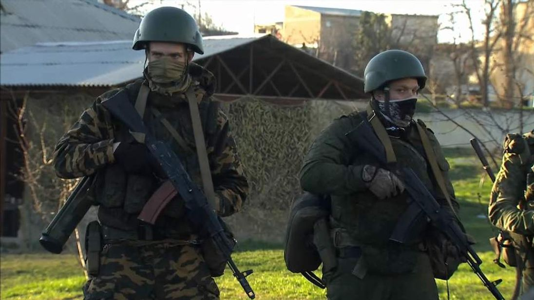 Soldiers at the Belbek airbase in Crimea