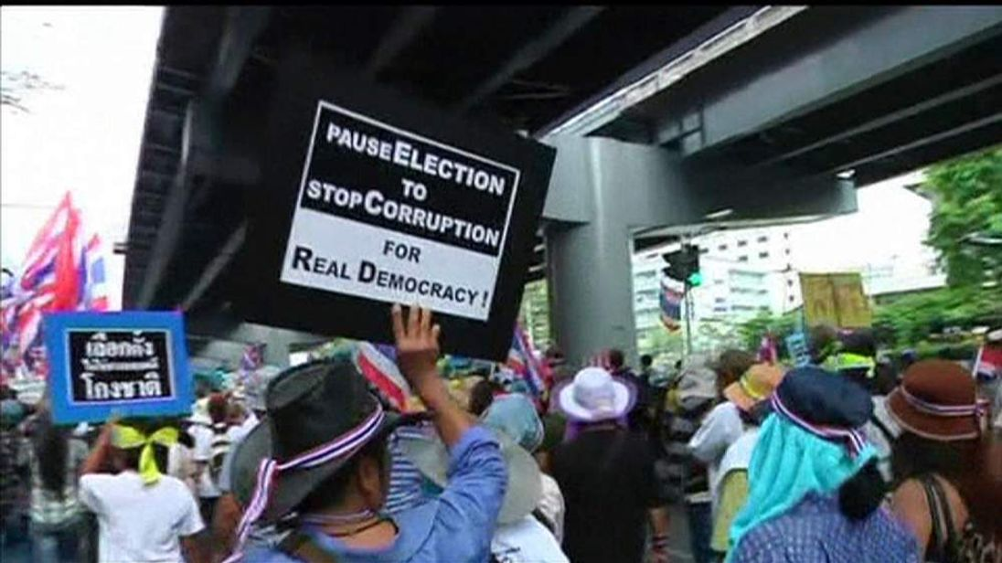 Protesters in teh Thai capital Bangkok