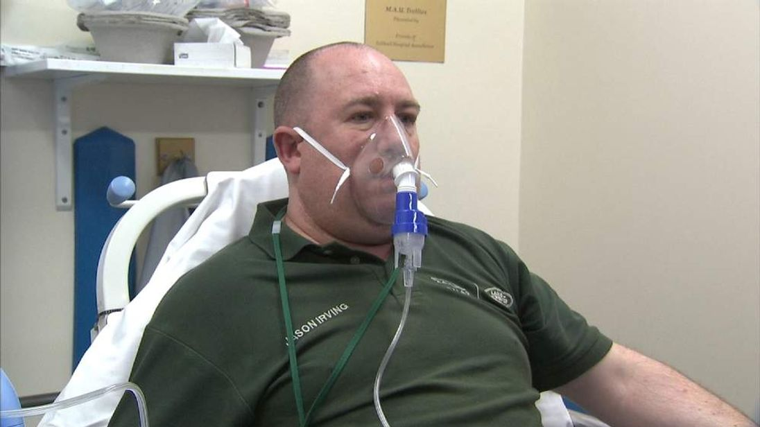Jason Irving is treated for breathing problems at a hospital in Solihull