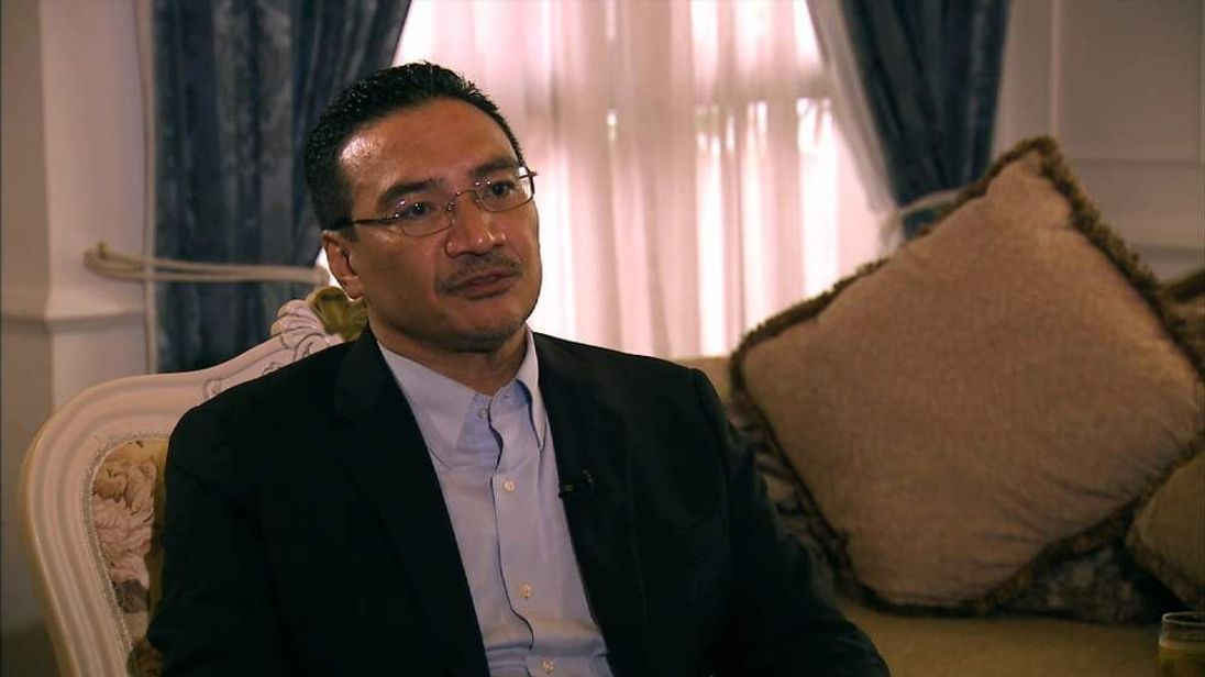 Malaysia's Acting Transport Minister Hishammuddin Hussein speaks to Sky News