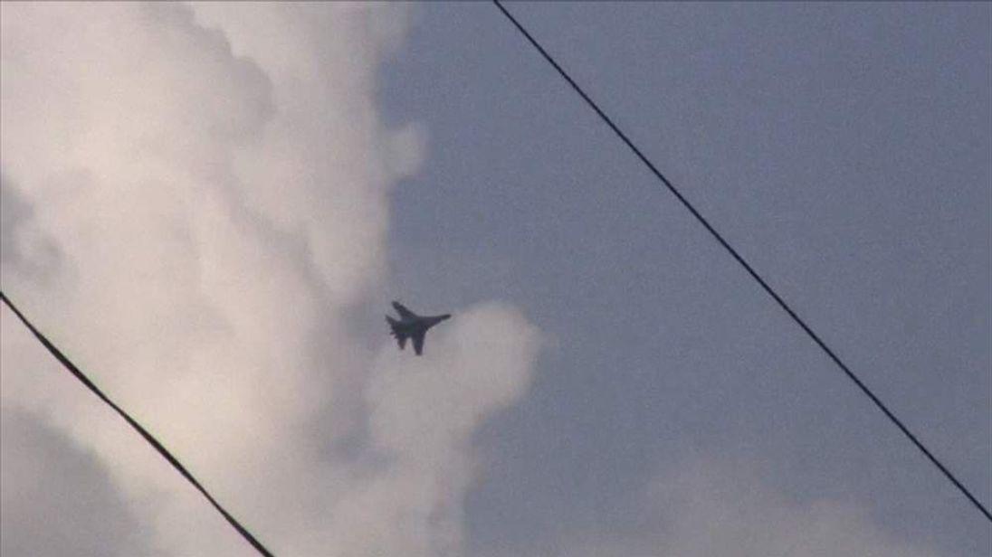 A Ukrainian jet seen flying over the eastern city of Kramatorsk on Tuesday April 15, 2014.