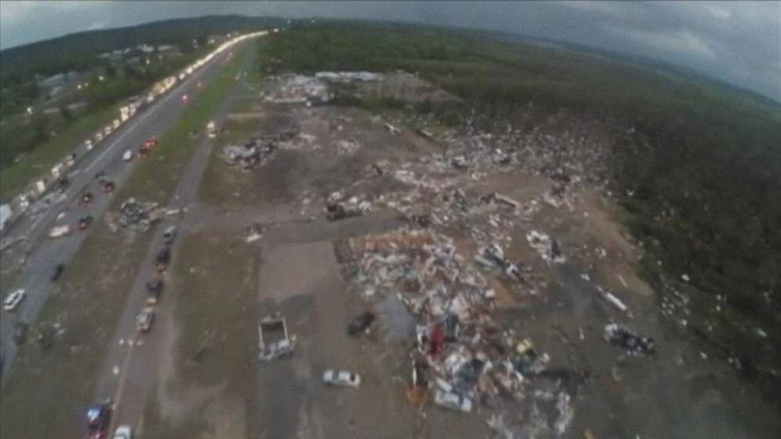 Drone footage of tornado aftermath, Mayflower Arkansas