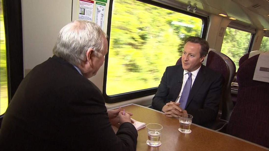 David Cameron and Sky's Adam Boulton