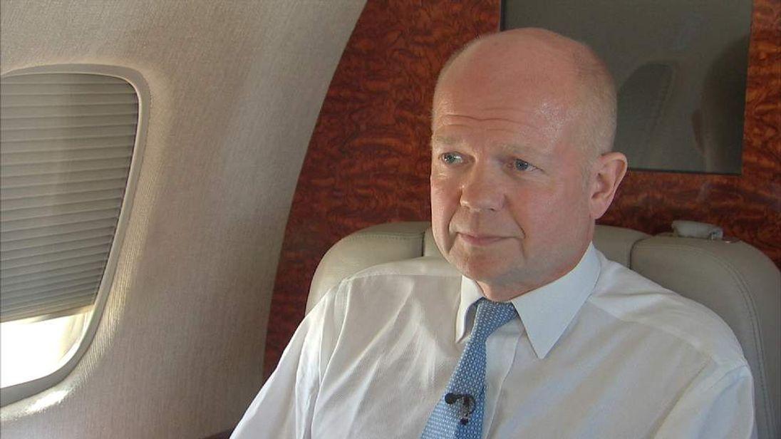 William Hague on an aeroplane