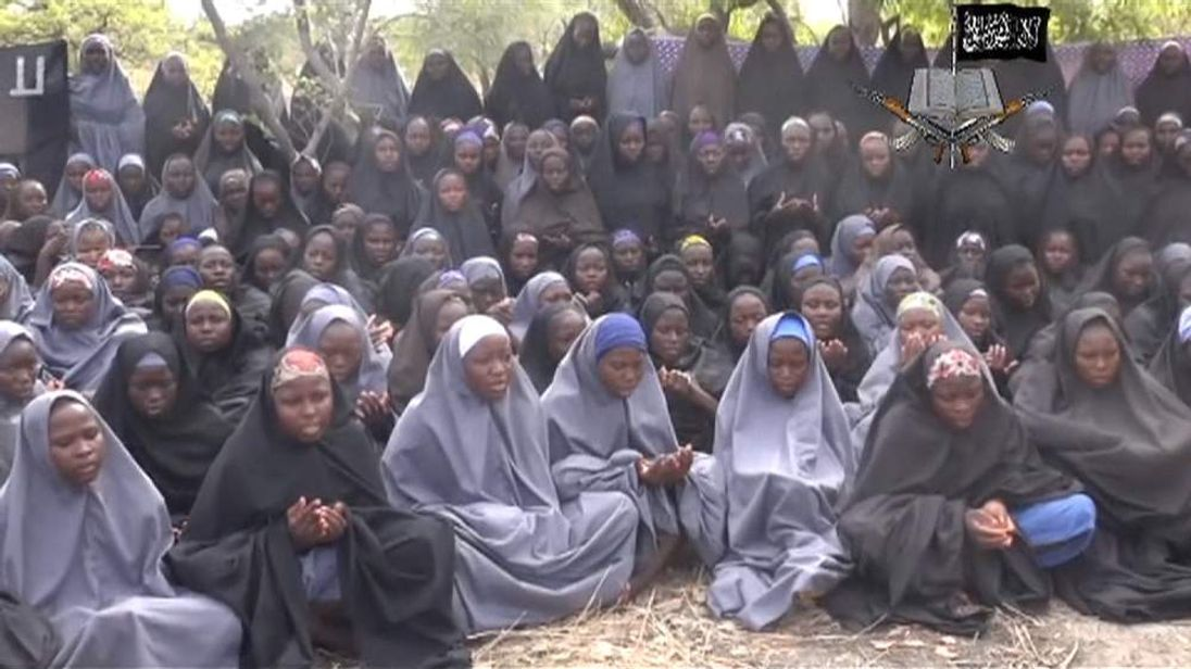 Screen grab of video released showing some of the kidnapped Nigerian Schoolgirls