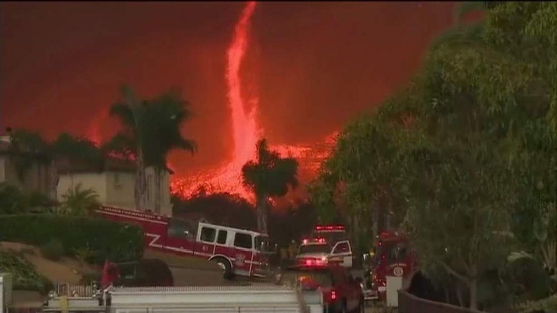 Firenado in San Diego County, California