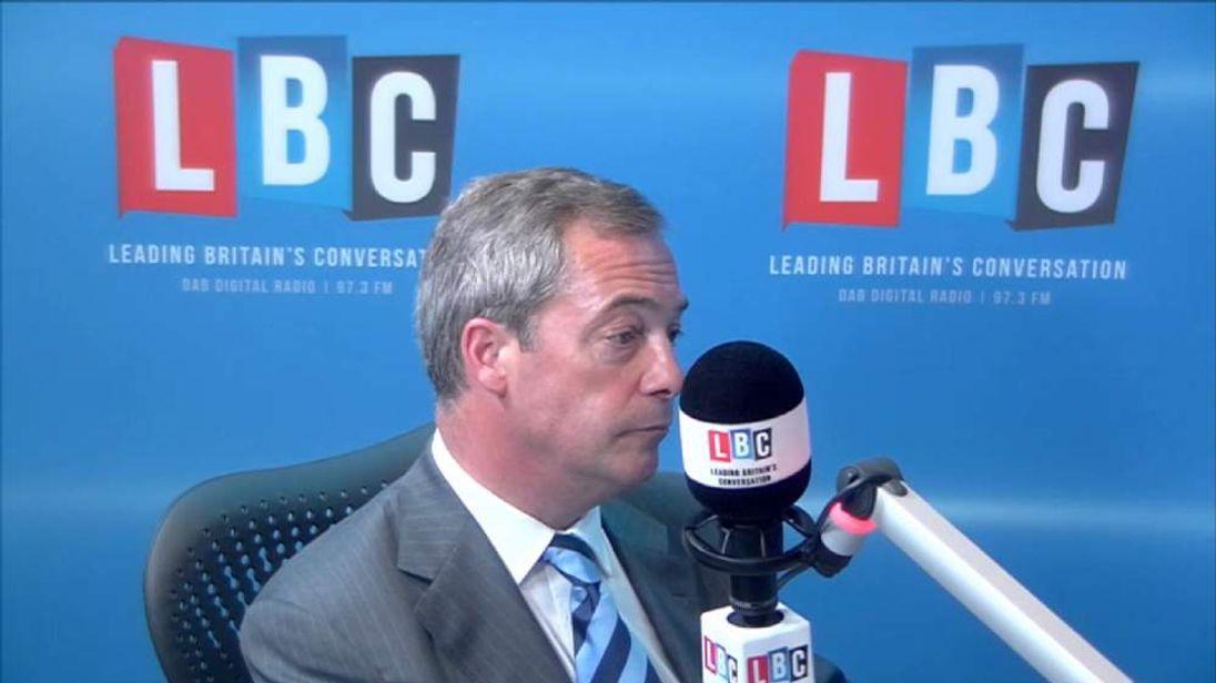 UKIP Leader Nigel Farage on LBC Radio