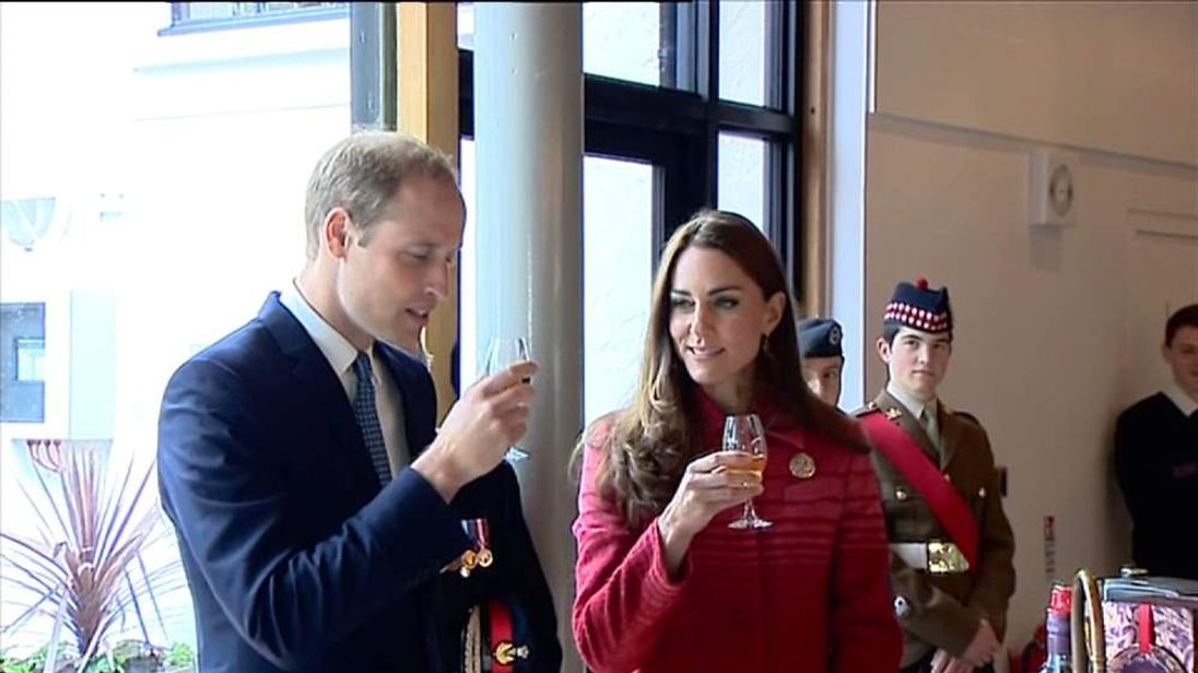 William and Kate enjoy a glass of whisky during a visit to Scotland