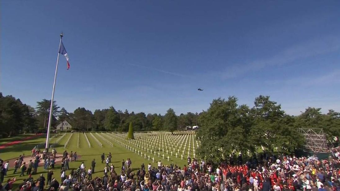 Crowds gather at Colleville-Sur-Mer in Normandy, France to mark D-Day on June 6, 2014