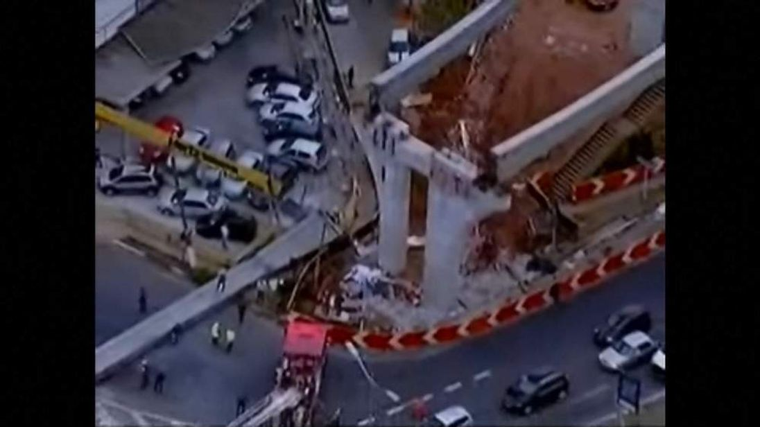 The aftermath of a monorail collapse in Sao Paulo, Brazil