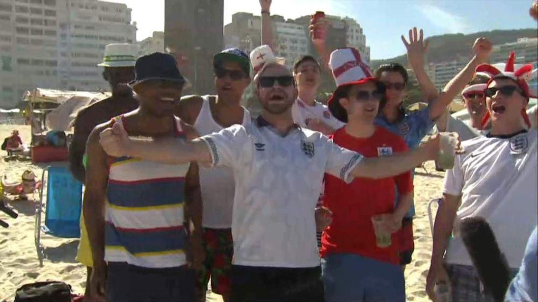England Fans Copacabana beach