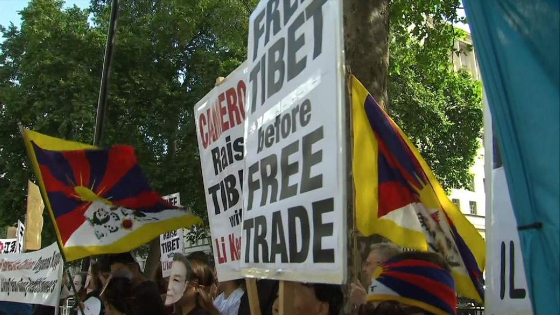 Anti-china protesters in Whitehall