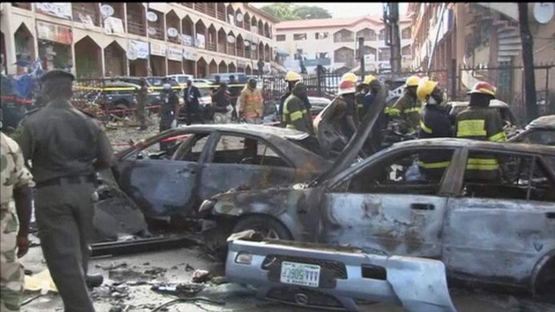 Scene of bomb blast at Emab Plaza in Nigerian capital Abuja