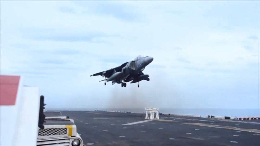 USS Bataan Harrier lands on a stool after landing gear failure